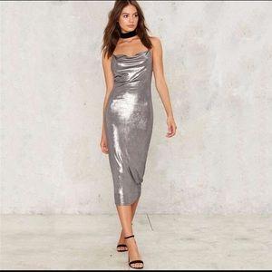 Perfect Storm Metallic silver Midi Dress Nasty gal